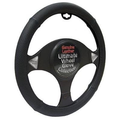 Luxury Genuine Black Real Leather With Black Stitching Car Steering Wheel Cover