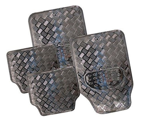 XtremeAuto® Universal Fit 4 Piece Heavy Duty Silver Chrome Look Checker Plate Car Mats