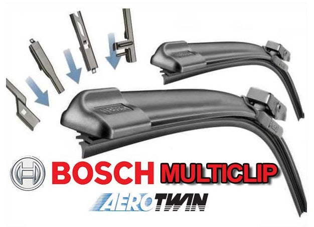 Mazda 3 Mk1 Saloon 2004-2009 Bosch Multi Clip Twin Pack Front Window Windscreen Replacement Wiper Blades Pair