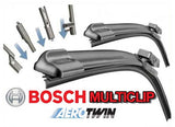 VOLKSWAGEN Bora 2002-2005 Bosch Multi Clip Twin Pack Front Window Windscreen Replacement Wiper Blades Pair