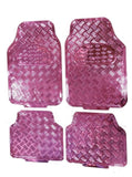 XtremeAuto® Universal Fit 4 Piece Heavy Duty Pink Chrome Look Checker Plate Car Mats