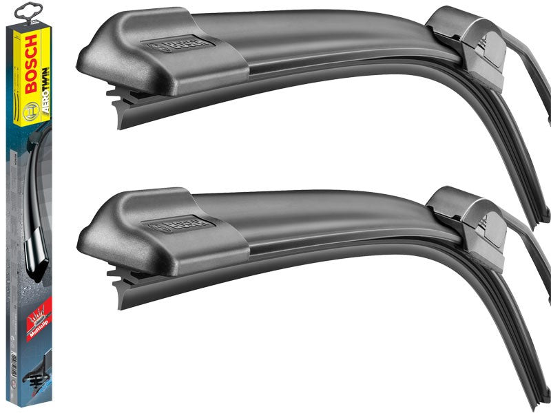 Ssangyong Kyron 2006-2007 Bosch Aerotwin Replacement Front Screen Retro Fit Windscreen Wiper Blades + Wurth Screen Wash