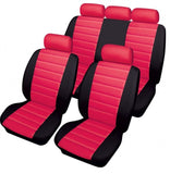 XtremeAuto® Bloomsbury Red Black Leather Look 8 Piece Car Seat Covers