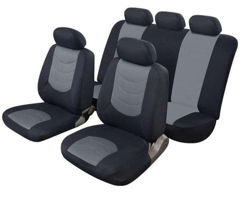 XtremeAuto® Avus Grey/Black Leather Look Car Seat Covers