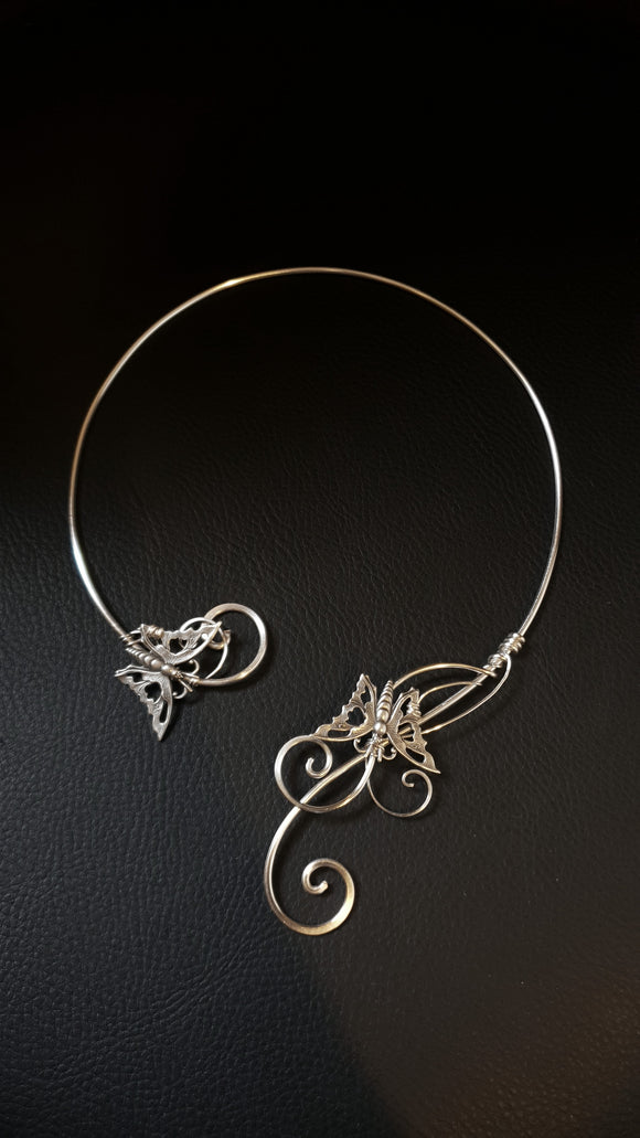 Silver Butterly torc choker necklace