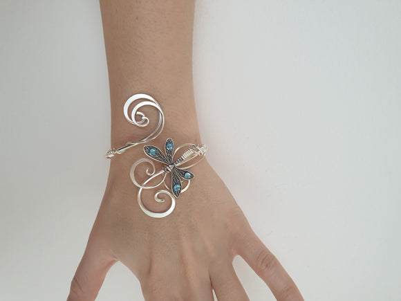 Sterling silver plated Dragonfly cuff bracelet with Aquamarine Swarovski crystals