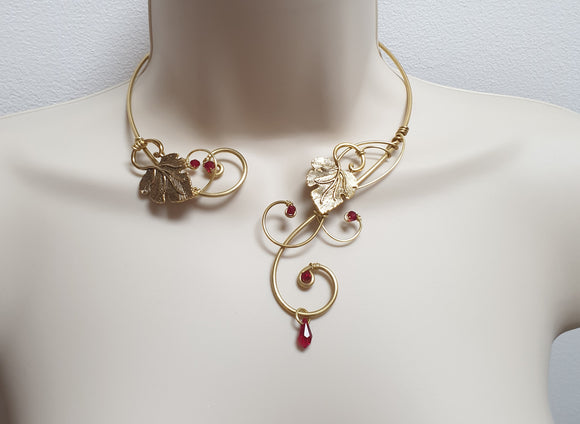 Gold red swarovski leaf Torque collar necklace