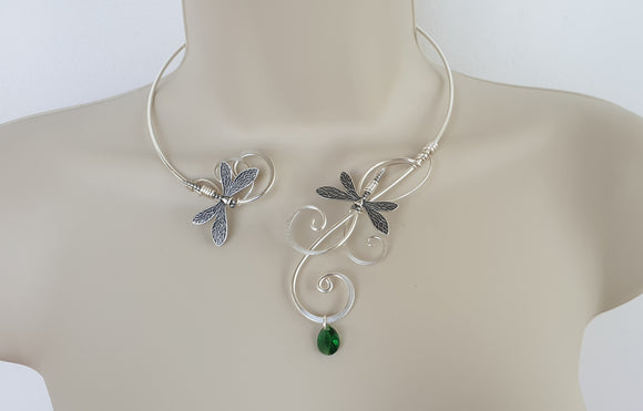 Silver Dragonfly torque collar Green crystal necklace