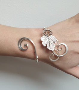Silver Grape leaf cuff bracelet