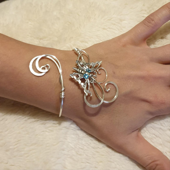 Aquamarine Swarovski adjustable Butterfly cuff bracelet