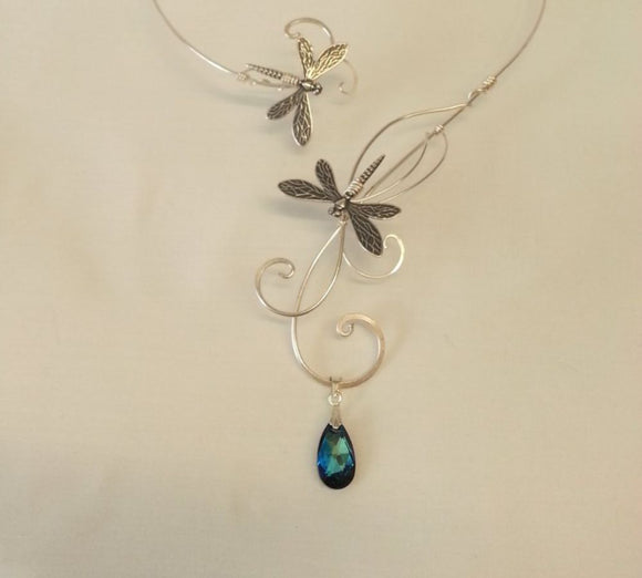 Bermuda Blue Swarovski elements silver dragonfly torc necklace collar