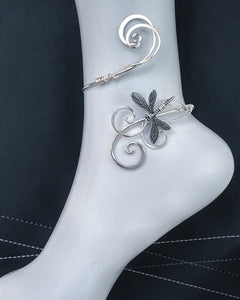 Silver dragonfly ankle cuff