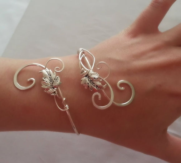 Silver Ivy leaf cuff vine wrap bracelet bangle