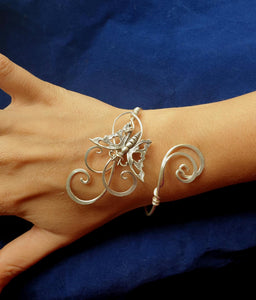 Silver Butterfly wrap bracelet, adjustable size cuff