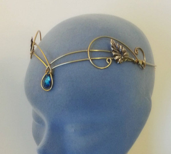gold brass bermuda blue swarovski headpiece tiara ivy leaf circlet
