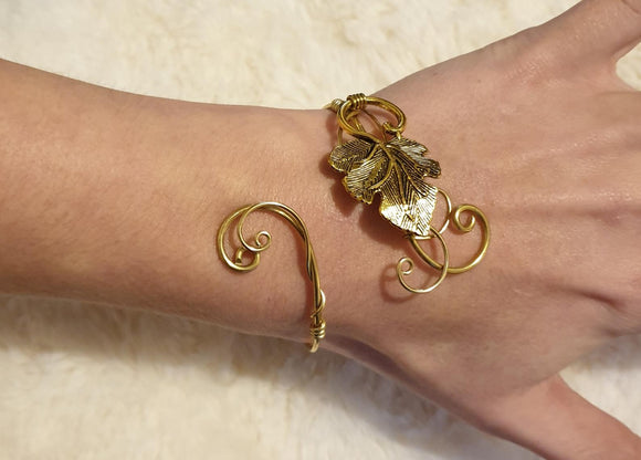 Gold Brass Grape leaf, unique wrap cuff bangle, adjustable bracelet
