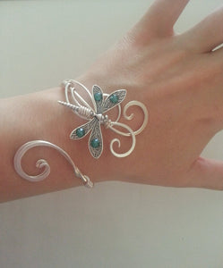 Dragonfly bracelet Silver womens gift cuff emerald swarovski wedding elven  bangle