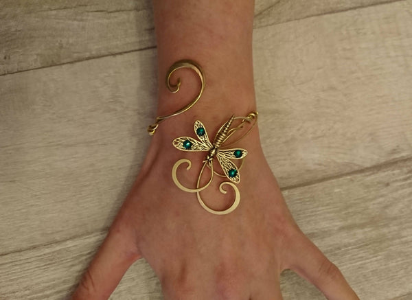 Dragonfly bracelet, Gold and emerald swarovski cuff, wedding bangle, elven gift