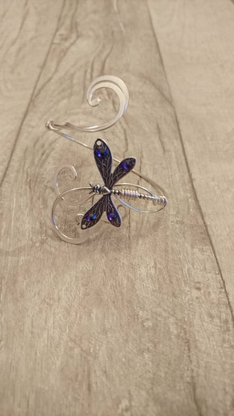 Purple crystal dragonfly cuff, silver bracelet elven wedding bangle
