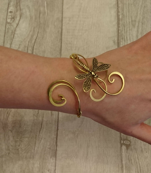 Gold Dragonfly bracelet, womens gift cuff, wedding elven  bangle