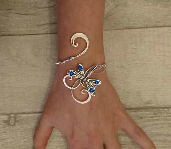sapphire swarovski crystal dragonfly bracelet, silver cuff elven wedding bangle