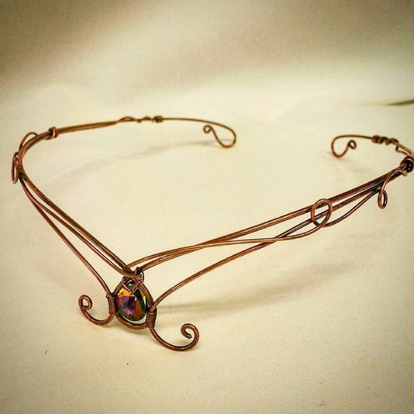 Copper tiara, Swarovski crystal circlet, elven crown