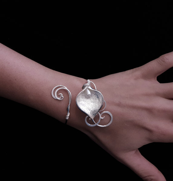 Sterling silver plated calla lily and pearl cuff bracelet Elven bridal