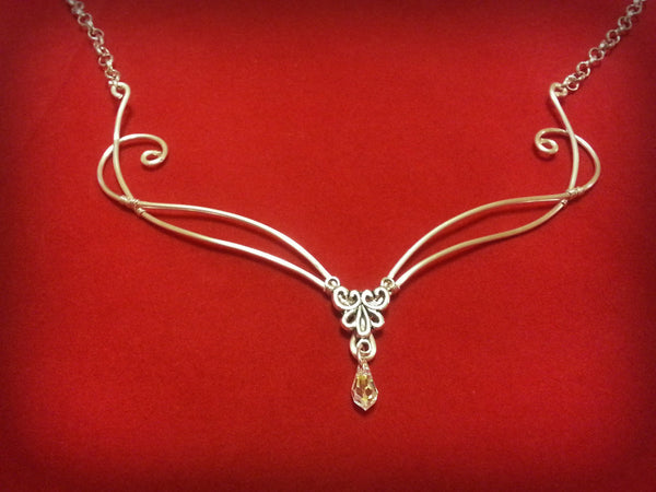 Silver clear ab Swarovski celtic necklace collar