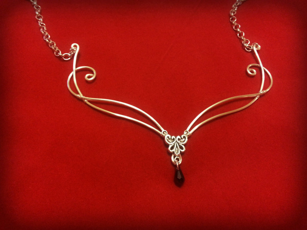Silver swarovski necklace siam red crystal
