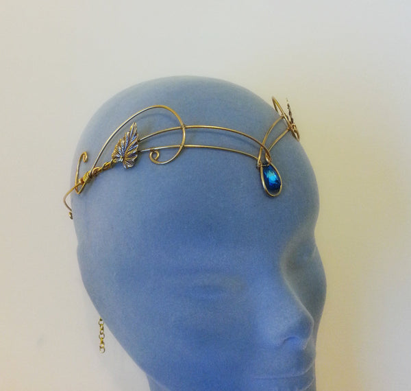 gold bermuda blue swarovski headpiece tiara ivy leaf circlet
