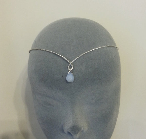silver plated twisted medieval circlet with opalite moonstone elven hobbit tiara headband