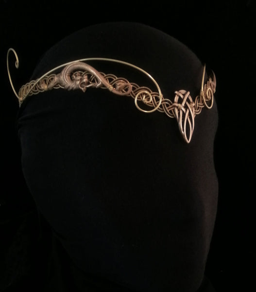Medieval elven viking gold celtic knotwork headpiece tiara circlet