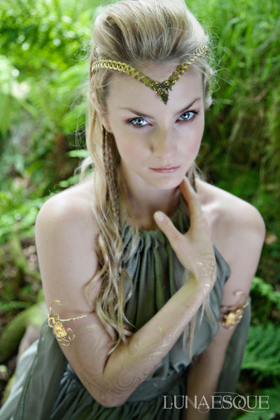 Gold celtic knotwork headpiece circlet tiara