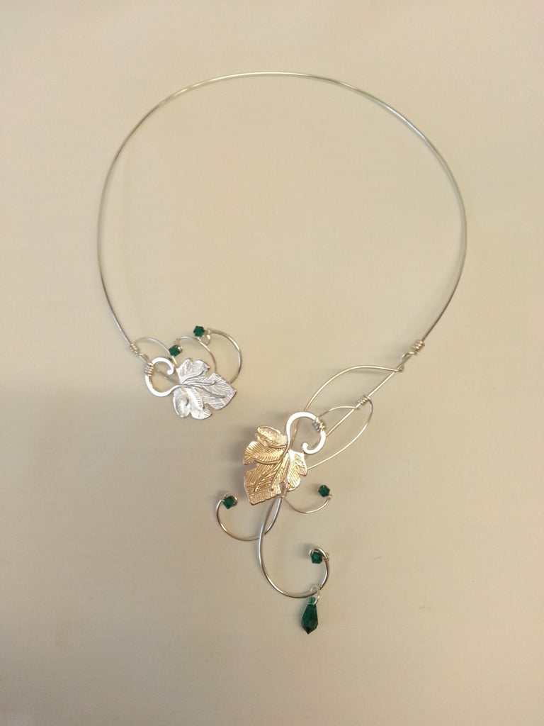 Silver Vine torc necklace Swarovski elements emerald green grape leaves collar