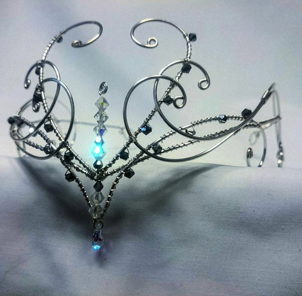 Silver swarovski elements wedding circlet tiara head wear crown medieval elven diadem