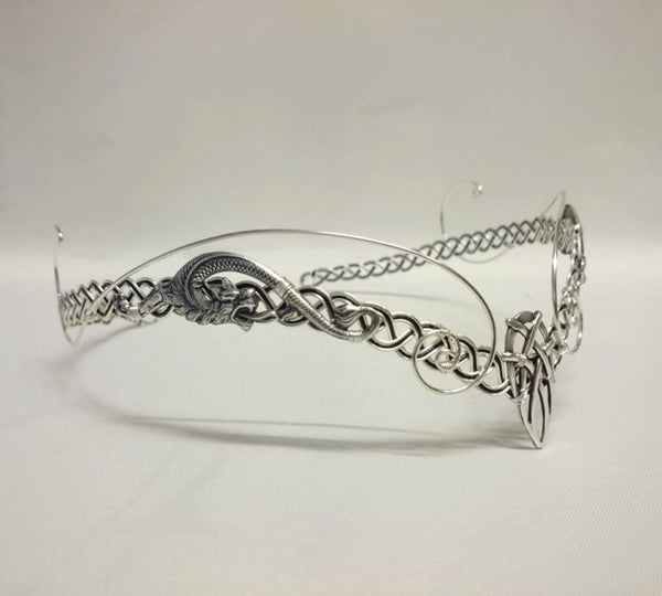 Silver dragon circlet celtic knotwork circlet headpiece