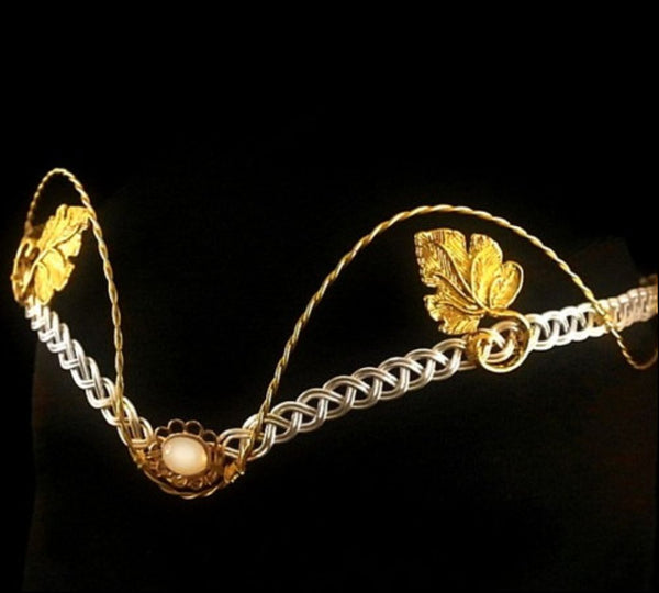 Silver and gold moonstone leaf tiara circlet