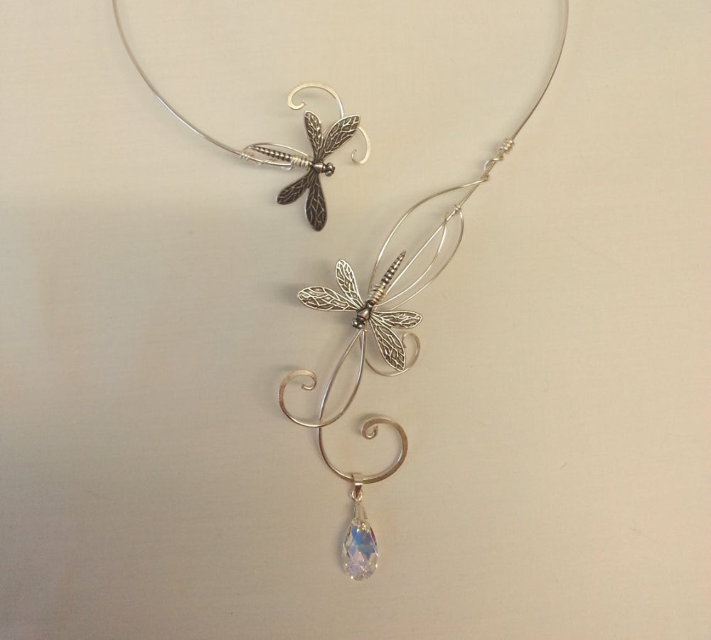 Silver Dragonfly torc collar elven faery necklace fantasy piece