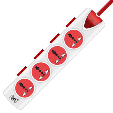 MX 4 OUTLET UNIVERSAL POWER STRIP WITH POWER INDICATOR : INDIVIDUAL SWITCH : 1.5 MTR
