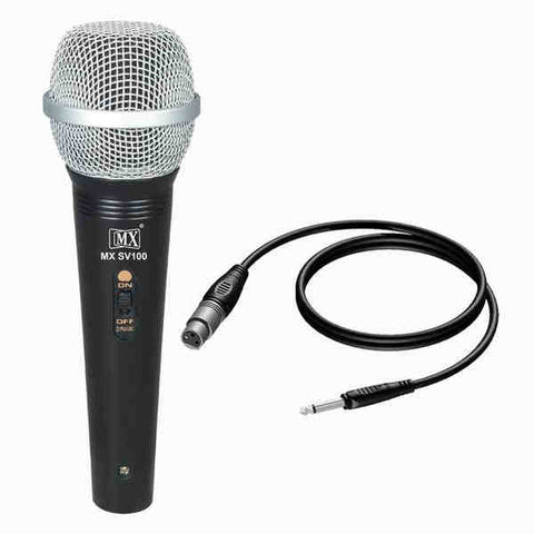 MX Dynamic Mic Cardioid Vocal Multi-Purpose Microphone with XLR to 1/4 Cable MX SV100