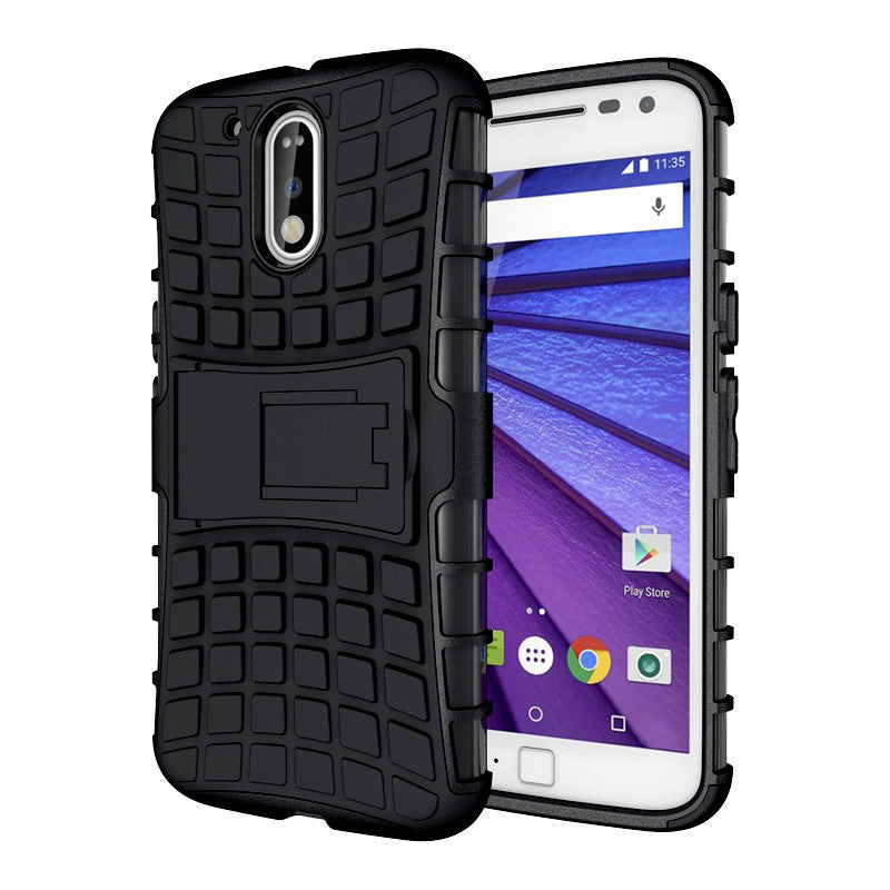 separation shoes bec35 fcf08 Defender Shockproof Hybrid Armour Back Cover for Moto G4 Plus with Kick  Stand