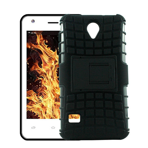 Defender Shockproof Hybrid Armour Back Cover for Lyf Flame 2 with Kick Stand