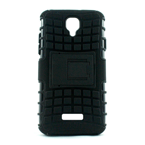 Defender Shockproof Hybrid Armour Back Cover for Lyf Flame 5 with Kick Stand