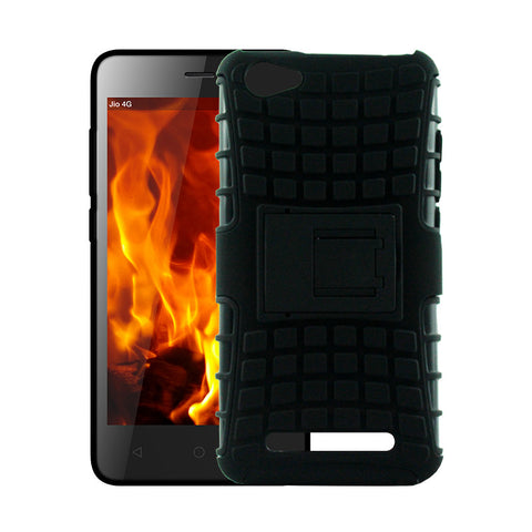 Defender Shockproof Hybrid Armour Back Cover for Lyf Flame 1 with Kick Stand