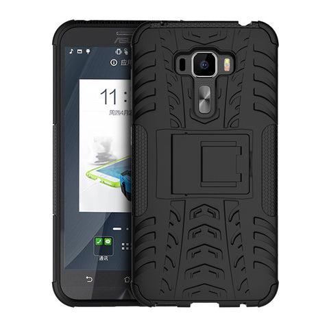 Defender Shockproof Hybrid Armour Back Cover for Asus Zenfone 3 Deluxe with Kick Stand