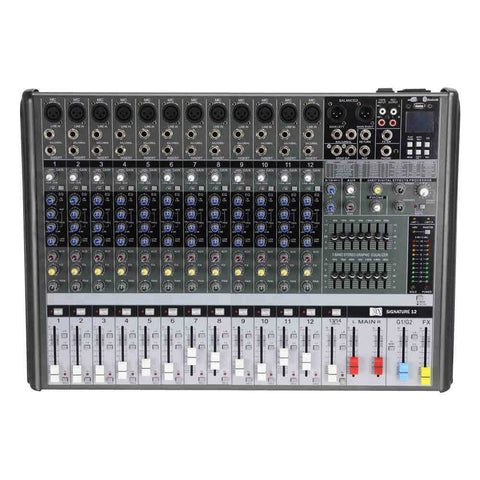 MX Live Audio Mixer 12 Channel Professional Mixer with USB &Bluetooth MX SIGNATURE 12 USB