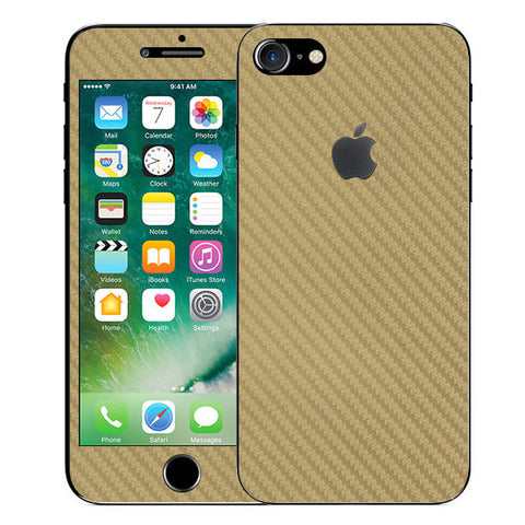 APPLE IPHONE 7 Golden Carbon Fiber Skin Sticker