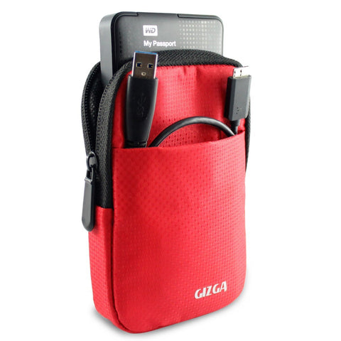 Hard Drive Case - Impact Resistant Jacket Pouch - Red