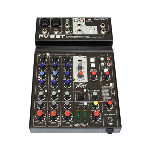 MX Peavey 6 Input Stereo Mixer with Digital Effects and Bluetooth