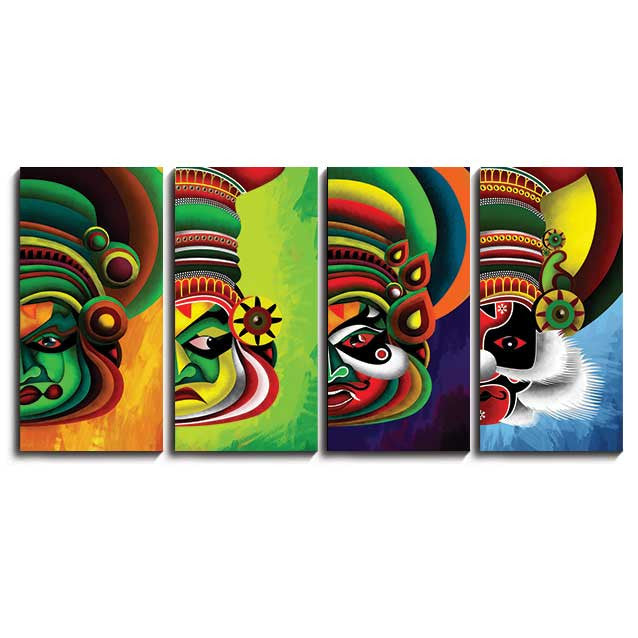 multiple photos on canvas kathakali split panel canvas photo prints online shopping india